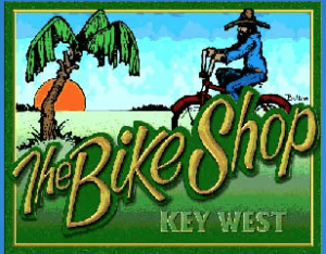 The Bike Shop Key West Header Logo. Colorful background of sky, ocean palm tree and grass. With a person riding a bike.
