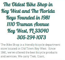 Text about The oldest bike shop in Key West